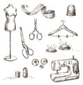 Set of sewing accessories drawings Royalty Free Stock Photo
