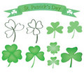 Set of shamrock icons Stock Photography