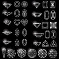 Set of shapes of diamond on black Stock Photo