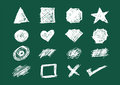 Set of Shapes, Icons and Scratches in Chalkboard style handsketch illustration