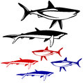 Set shark black and white outline vector illustration Royalty Free Stock Photos