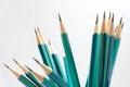 Set of sharpened green pencils on white Stock Photo