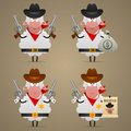 Set sheep cowboy in different poses illustration format eps Royalty Free Stock Image