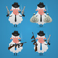 Set sheep gangster in different poses illustration format eps Stock Image