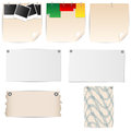 Set of sheets of paper stationery with pins and clips Stock Photos