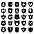 Set of shield icons with symbols modern and medieval Stock Image