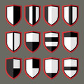 Set of shields black and white blank retro Royalty Free Stock Photo