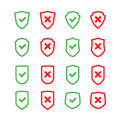 Set of shields with checkmark symbol in flat design style Royalty Free Stock Photo