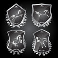Set with of shields with horses Royalty Free Stock Photo