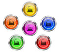 Set shiny glass buttons factory icon Royalty Free Stock Image