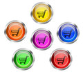 Set shiny glass web buttons badges shopping cart icon Royalty Free Stock Photography