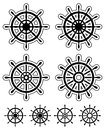 Set of ship steering wheels Royalty Free Stock Photo