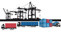 A set of shipping icons with intermodal containers trucks and cranes at a port Stock Image
