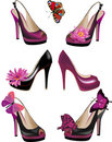 Set of shoes with flowers and butterflies Royalty Free Stock Photo