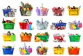 Set of shopping baskets with grocery products, gifts and household chemicals on background Royalty Free Stock Photo
