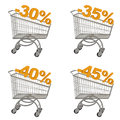 Set of shopping cart with discount Stock Photos