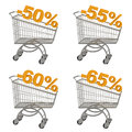 Set of shopping cart with discount. Royalty Free Stock Photography