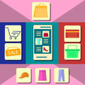 Set of Shopping Icons. Colorful Flat Design.