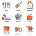 Set of shopping and retail outline vector icons depicting a shop label bag discount basket gift shipping delivery a Royalty Free Stock Photos