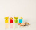 Set shot drinks, yellow, red, green and blue kamikaze drinks dec Royalty Free Stock Photo