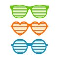Set shutter glasses. Brindled or latticed sunglasses, summer youth glasses. Shutter shades sun glasses collection
