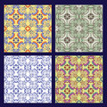 Set of sicilian tiles seamless vector textures Royalty Free Stock Photography