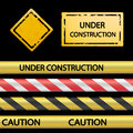 Set of signal tape and warning signs. Royalty Free Stock Photo
