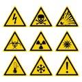 Hazards signs set