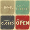 Set of signs: open - closed - 24 hours Royalty Free Stock Photo