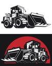 Silhouette Bulldozer Earthmover Construction Heavy Machinery Royalty Free Stock Photo