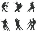 Set of Silhouette Dancing Couple Stock Images