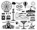 Set of silhouette icons of circus, amusement park. Carnival parks carousel attraction, fun rollercoaster and ferris wheel Royalty Free Stock Photo