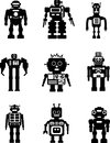 Set of silhouette robots abstract isolated on white background vector illustration Royalty Free Stock Photography