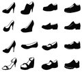 Set of silhouette shoes icon create by vector Royalty Free Stock Images