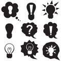 Set silhouette speech bubbles symbol idea lightbulb Stock Image
