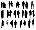 Set of silhouette walking people and children vector illustration this is file eps format Royalty Free Stock Photography