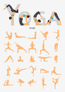 Set of silhouette yoga poses in flat design . Yoga infographics.