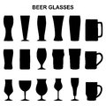 Set of silhouettes of beer glasses, illustration