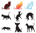 Set of silhouettes of cats Royalty Free Stock Photography