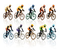Set silhouettes cyclists bicycle race sport illustration Royalty Free Stock Photos