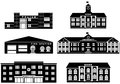 Set of silhouettes different buildings  on white background in flat style. Fire station, police department