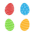 Set of silhouettes of Easter eggs