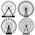 Set of silhouettes ferris wheel vector from amusement park Royalty Free Stock Photos