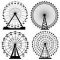 Set of silhouettes Ferris Wheel. Royalty Free Stock Photo