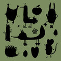 Set of silhouettes of forest animals.
