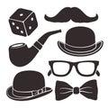 Set of silhouettes gentlemen`s vintage accessories