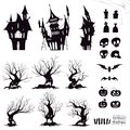 Set of silhouettes for halloween gloomy house, sinister trees, fences, graves, skulls, pumpkins and bats
