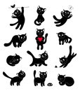Set of silhouettes happy cats cartoon illustration Royalty Free Stock Photography