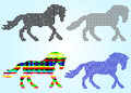 Set of silhouettes of horse squares, circles, waves Royalty Free Stock Photo