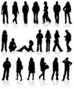 Set silhouettes man and women Royalty Free Stock Images